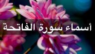 عدد أسماء سورة الفاتحة