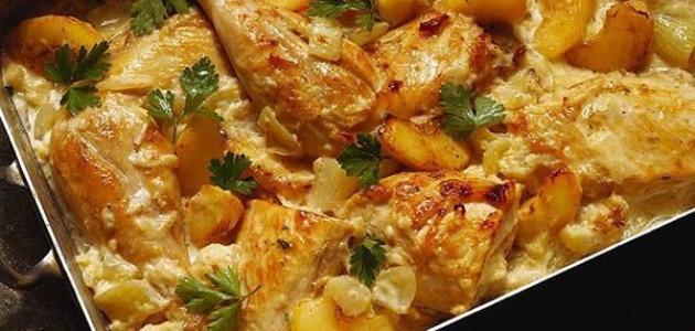 طريقة عمل صينية البطاطس بالدجاج