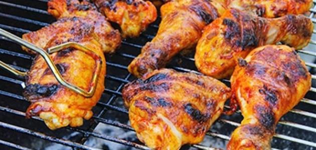 طريقة الدجاج المشوي على الفحم