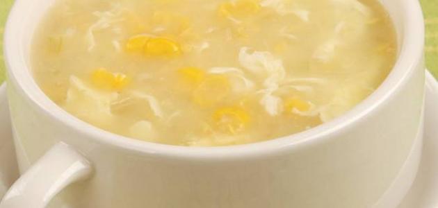 طريقة عمل الشوربة البيضاء بالدجاج والذرة