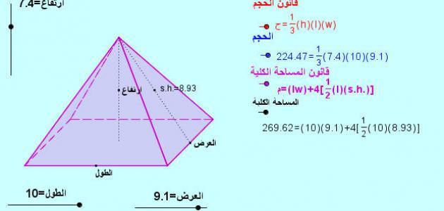 قانون حجم المثلث