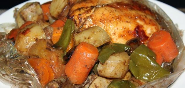 طريقة الدجاج المشوي بالكيس