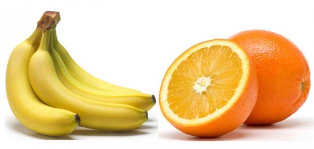 فوائد الموز والتفاح والبرتقال