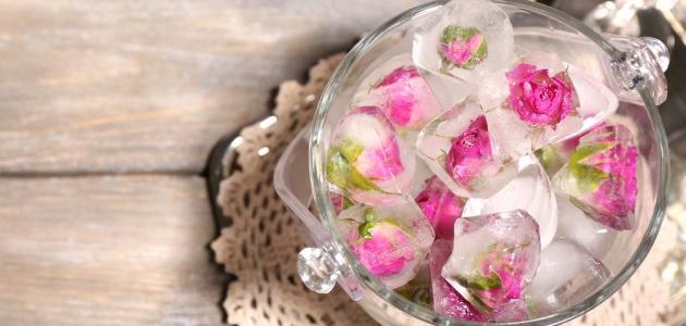 فوائد مكعبات ماء الورد للوجه