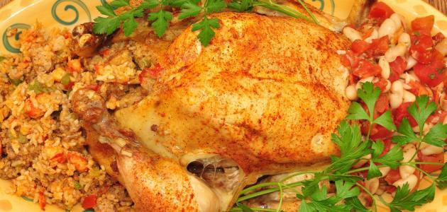 كيفية حشو الدجاج بالأرز