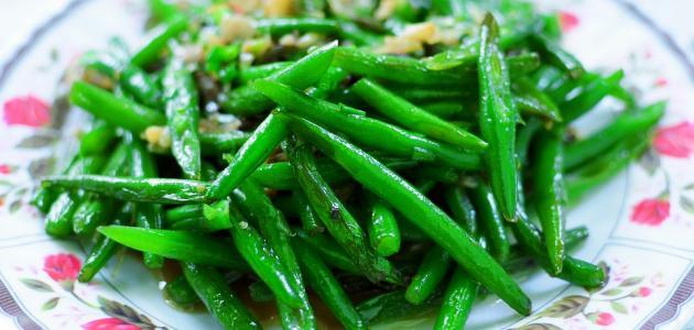 فاصولياء خضراء بالفطر