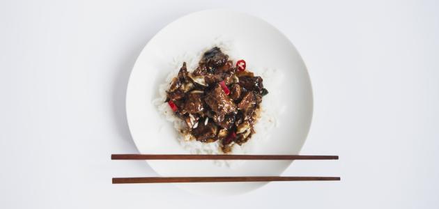 أكل صيني باللحم
