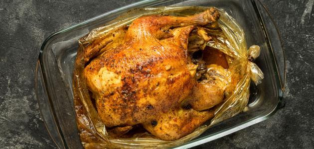 طريقة شوي الدجاج في كيس الشوي