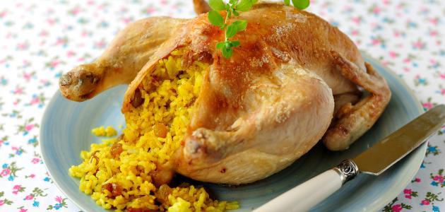طريقة حشو دجاج بالأرز