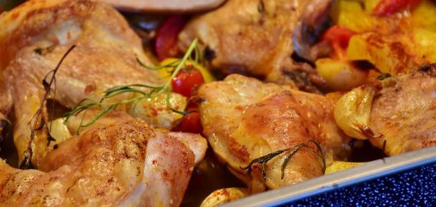 طريقة عمل دجاج بالفرن مع الخضار