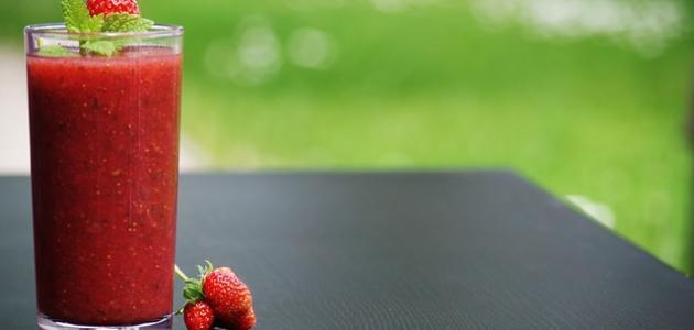 طريقة عمل سموثي فراولة