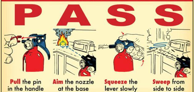 طريقة استخدام طفاية الحريق موضوع