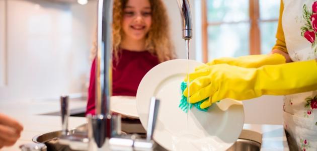كيفية غسل الأواني