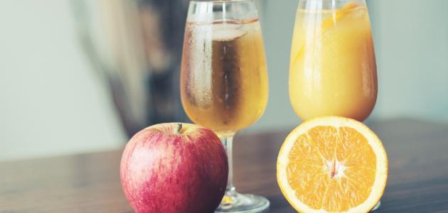 طريقة عمل عصير تفاح وبرتقال