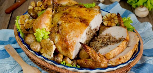 طريقة حشو الدجاج