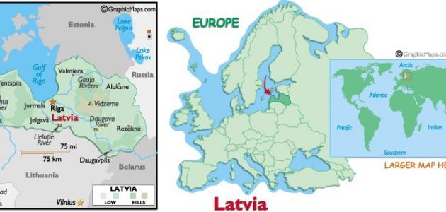 أين تقع دولة لاتفيا