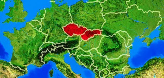 أين تقع تشيكوسلوفاكيا