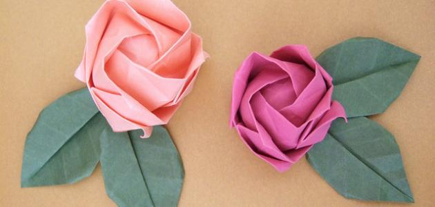 طريقة صنع وردة بالورق