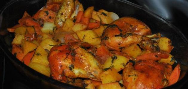 صينية دجاج بالخضار