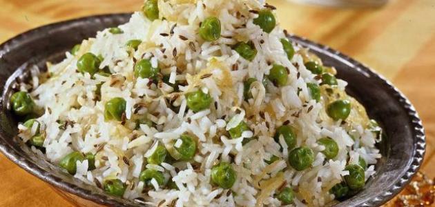 طريقة عمل أرز وبازيلاء