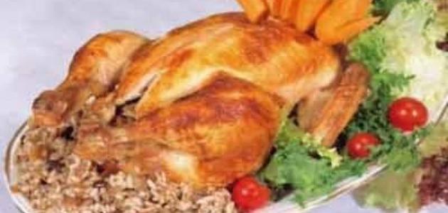 طريقة تحضير دجاج محشي بالفرن