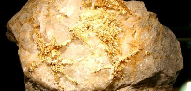 شكل الذهب في الصخور