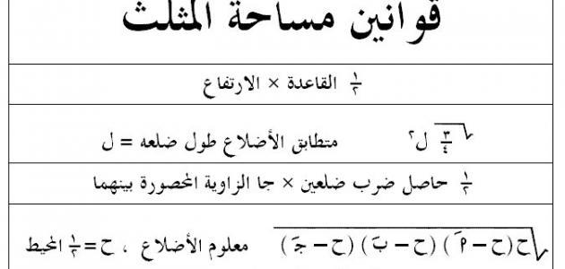 قانون مساحة المثلث