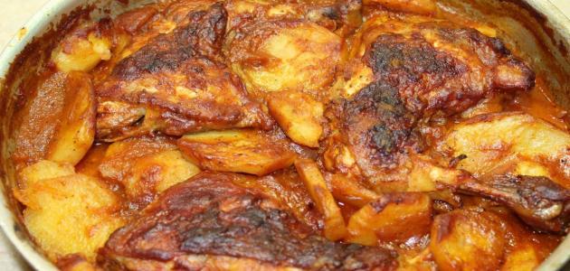 عمل صينية البطاطا بالفراخ